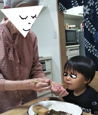 祖母と息子がホットクックで作ったご飯を食べているところ