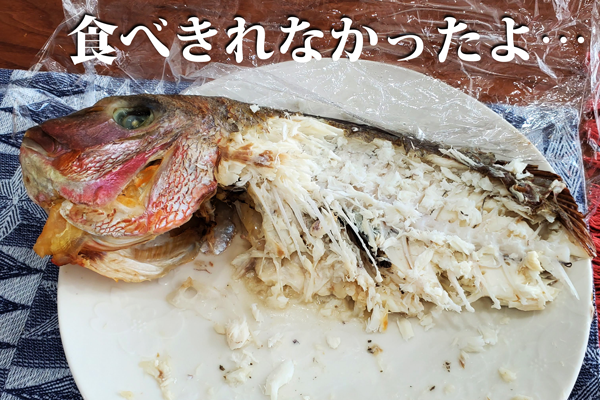 食べ残したお食い初めの鯛